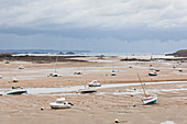 Saint Briac sur Mer Port harbor at low tide with a view of Cap Frehel. Brittany