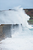 Harbor wall at Goury storm surge, Manche, Normandy France