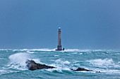 Lechtturm Goury in the storm early in the morning just before the tide peaked. Cotentin peninsula, Normandy.