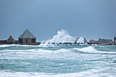 Goury harbor in the storm, northern tip of the Cotentin, Normandy France