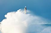 Goury lighthouse in the storm at Cap de la Hague, Auderville