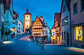 Plönlein und Siebersturm bei Nacht, Rothenburg ob der Tauber, Bayern, Deutschland