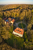 Hunting lodge on the Friedrichsberg, Steigerwald, Abtswind, Kitzingen, Lower Franconia, Franconia, Bavaria, Germany
