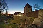 Blue hour at Herrengraben, Pesttor in Iphofen, Kitzingen, Lower Franconia, Franconia, Bavaria, Germany, Europe