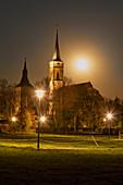 Full moon over Iphofen, Kitzingen, Lower Franconia, Franconia, Bavaria, Germany, Europe