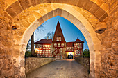 Roedelseer Tor in Iphofen at the blue hour, Kitzingen, Lower Franconia, Franconia, Bavaria, Germany, Europe