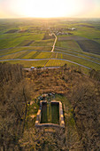 Aerial view of the Kunigunden chapel in the Franken wine paradise, Bullenheim, Neustadt an der Aisch, Middle Franconia, Franconia, Bavaria, Germany, Europe