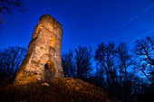 Ruin Speckfeld at Einersheim market at the blue hour, Kitzingen, Lower Franconia, Franconia, Bavaria, Germany, Europe