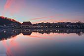 Sonnenaufgang über Marktbreit am Main, Kitzingen, Unterfranken, Franken, Bayern, Deutschland
