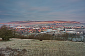 View of a wintry Segnitz, Kitzingen, Lower Franconia, Franconia, Bavaria, Germany, Europe