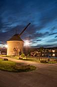 Blue hour in Marktbreit am Main, Kitzingen, Lower Franconia, Franconia, Bavaria, Germany, Europe
