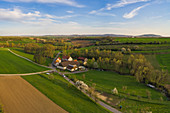 Aerial view of the Vogtsmühle near Mönchsondheim, Kitzingen, Lower Franconia, Franconia, Bavaria, Germany, Europe