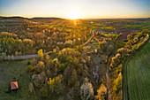 Orchard meadows near Nenzenheim, Kitzingen, Lower Franconia, Franconia, Bavaria, Germany, Europe