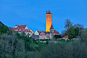 Castle tower in Rothenburg ob der Tauber at the blue hour, Ansbach, Middle Franconia, Franconia, Bavaria, Germany, Europe