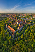 Aerial view of Rothenburg ob der Tauber in the evening, Ansbach, Middle Franconia, Franconia, Bavaria, Germany, Europe