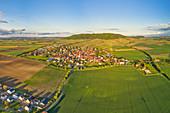 Luftbild von Rödelsee am Abend, Kitzingen, Unterfranken, Franken, Bayern, Deutschland, Europa