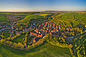 Aerial view of Tiefenstockheim in the evening, Kitzingen, Lower Franconia, Franconia, Bavaria, Germany, Europe