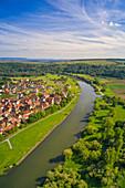 View of the Main Valley near Fahr, Volkach, Kitzingen, Lower Franconia, Franconia, Bavaria, Germany, Europe,