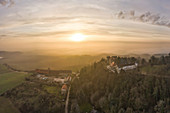 View of Frankenberg Castle at sunset, Reusch, Weinparadies, Neustadt an der Aisch, Middle Franconia, Franconia, Bavaria, Germany, Europe
