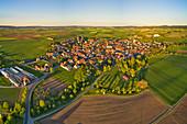 Aerial view of the wine village Hüttenheim in the wine paradise Franconia, Kitzingen, Lower Franconia, Franconia, Bavaria, Germany, Europe