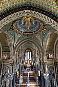 France, Rhone, Lyon, historical site listed as World Heritage by UNESCO, Notre Dame de Fourviere basilica, the nave