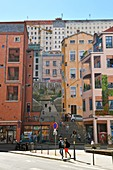 France, Rhone, Lyon, historical site listed as World Heritage by UNESCO, the Croix Rousse district, the fresco of the Canuts Wall (mur des Canuts)