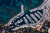 France, Var, Saint Cyr sur Mer, marina of the Madrague (aerial view)