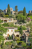 France, Gard, La Roque sur Ceze, labelled Les Plus Beaux Villages de France (The Most Beautiful Villages of France, village built on a rocky outcrop overlooking the Ceze river and dominated by the ruins of an ancient castle and its Romanesque chapel
