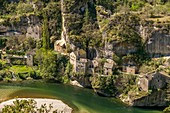 France, Lozere, the Causses and the Cevennes, Mediterranean agro pastoral cultural landscape, listed as World Heritage by UNESCO, Castelbouc in the Gorges du Tarn, Saint Enimie