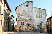 France, Tarn, Albi, the episcopal city, listed as World Heritage by UNESCO, Le Castelviel district, modern fresco, rue du Paradis