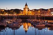 France, Charente Maritime, La Rochelle, the old harbour and the Tour de la Grosse Horloge