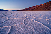 Sunset at Badwater Basin, the lowest point in north america, Death Valley National Park, Inyo County, California, North America, USA