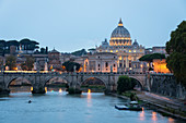 Dusk at Saint Peter's Basilica and Tiber river in Rome, Lazio, Italy, Europe