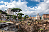Forum Romanum and in backgrond column of Traiano and the churches of Santa Maria of Loreto and Santissimo name of Maria, Rome, Lazio, Italy, Europe,