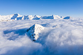 Aerial view of Piz Campasc that it is enclose from clouds, Bernina Pass, Engadin, Canton of Graubunden, Switzerland, Europeine, Graubunden, Switzerland, Europe