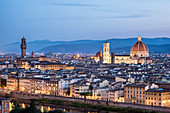 Cityscape and Cathedral of Santa Maria del Fiore and tower bell of Giotto in Florence, Tuscany, Italy, Europe