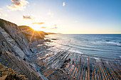 Itxaspe, Gipuzkoa, Basque Country, Spain. Playa Sakoneta at sunset