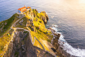 Gaztelugatxe, Biscay, Basque Country, Spain. Aerial view of the islet and the hermitage at sunrise