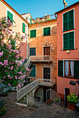 Framura, Spezia province, Liguria, Italy, Europe. Typical buildings in the town of Anzo