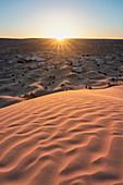 Sunset around Camp Mars village, Sahara desert, Tunisia, Northern Africa.