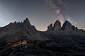 Milky Way's over Tre Cime di Lavaredo, Drei Zinnen, Three Peaks of Lavaredo, Dolomites, South Tyrol, Italy, Europe