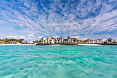 a touristic village near the Ile aux Cerfs in winter time, Mauritius, Indian Ocean, Africa