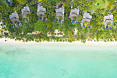 Aerial view of Troux aux biches beach, Mauritius, Indian Ocean, Africa