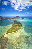 aerial panoramic view of Ile aux Benitiers in winter day, La Gaulette, Black River, Mauritius, Africa