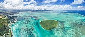 aerial panoramic view of Ile aux Aigrettes in winter day, Grand Port district, Mauritius, Africa