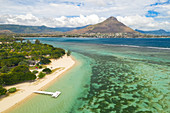 a drone view of Flic en Flac beach in winter day, Black River district, Mauritius, Indian Ocean, Africa