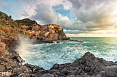 a magical sunset seen from the cliff, National Park of Cinque Terre, Manarola, municipality of Riomaggiore, La Spezia Province, Liguria district, Italy, Europe