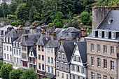 Brittany, Finistère, France. Morlaix city, City view from the viaduct