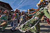 Aosta valley, Gignod, Italy. Alpine carnival Coumba Freida