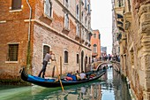 Italy, Venetia, Venice, listed as World Heritage by UNESCO, gondola near San Zaccaria church, Castello district